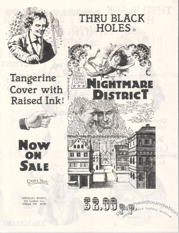 Thru Black Holes Comix flyer (Nightmare District/buttons)