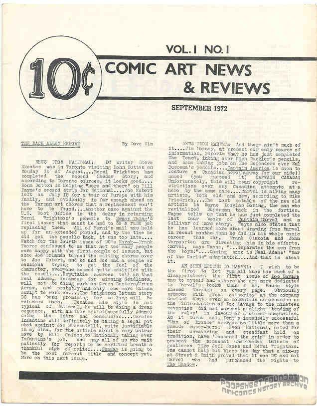 Comic Art News and Reviews #01