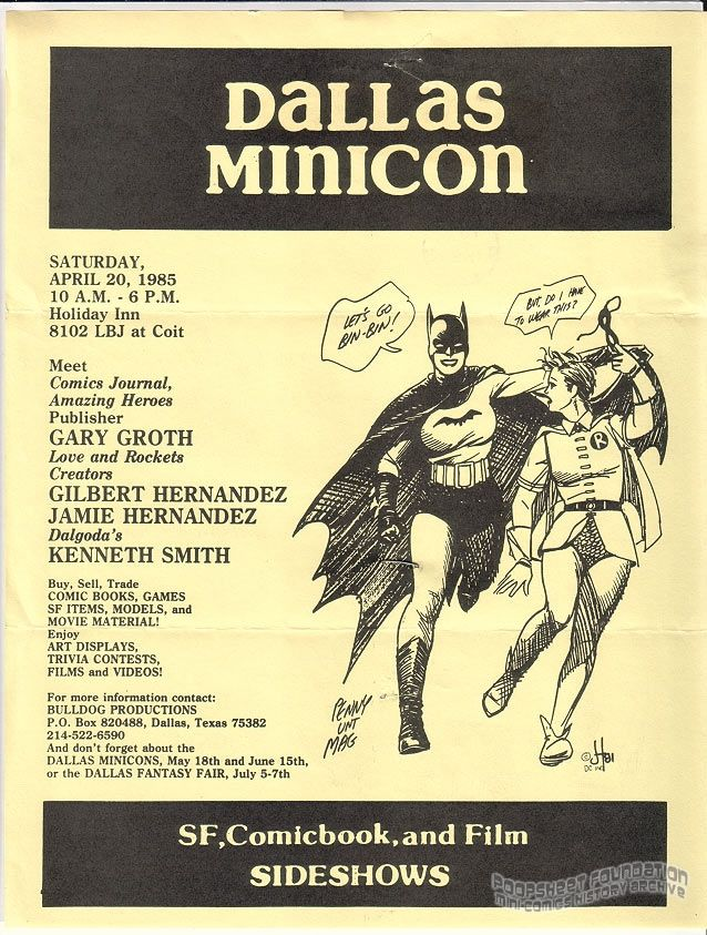 Dallas Minicon flyer (April 20, 1985)