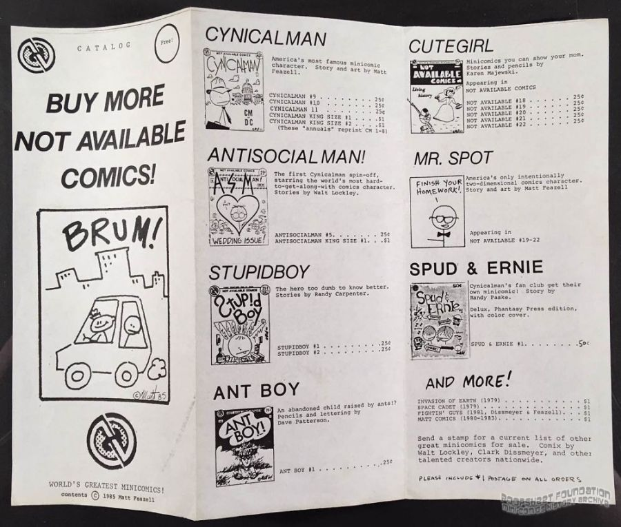 Not Available Comics catalog 1985 (brochure)