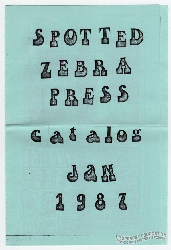 Spotted Zebra Press Catalog January 1987