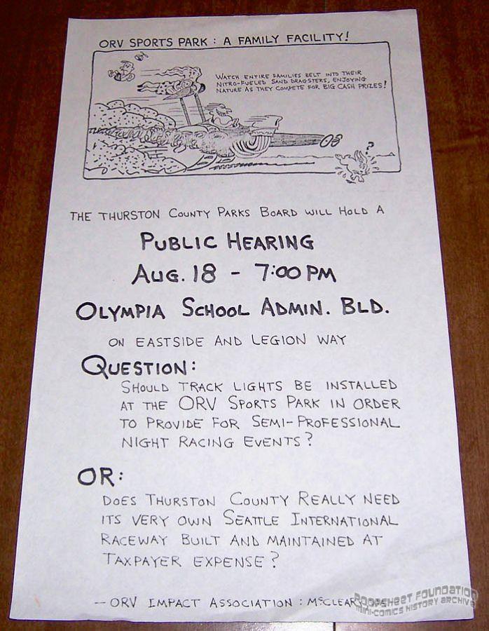 ORV Sports Park Public Hearing poster