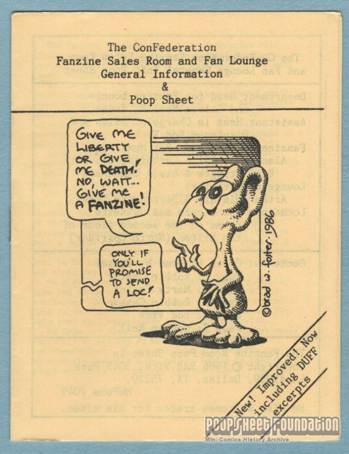 Fanzine Room Poop Sheet, The [ConFederation 1986]