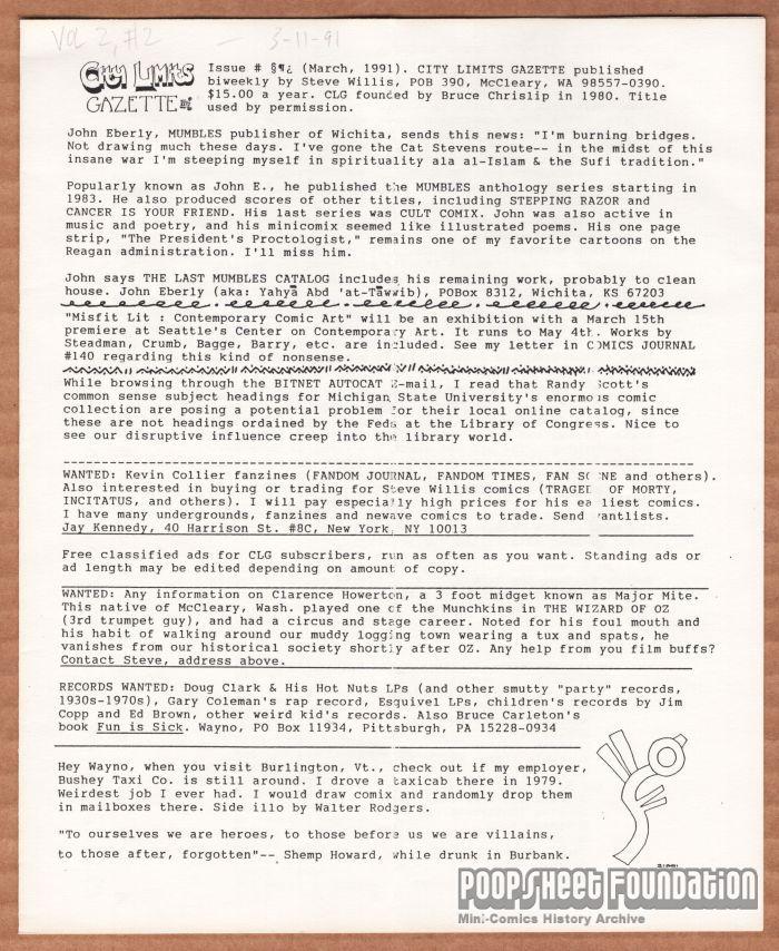 City Limits Gazette (Willis) March 1991, #§¶¿