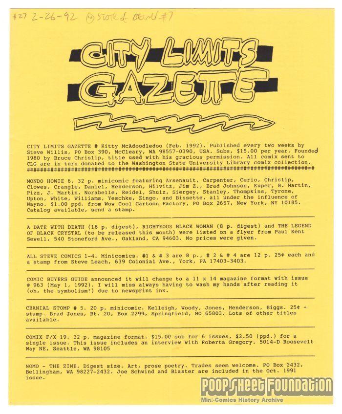 City Limits Gazette (Willis) February 1992, #Kitty McAdoodledoo