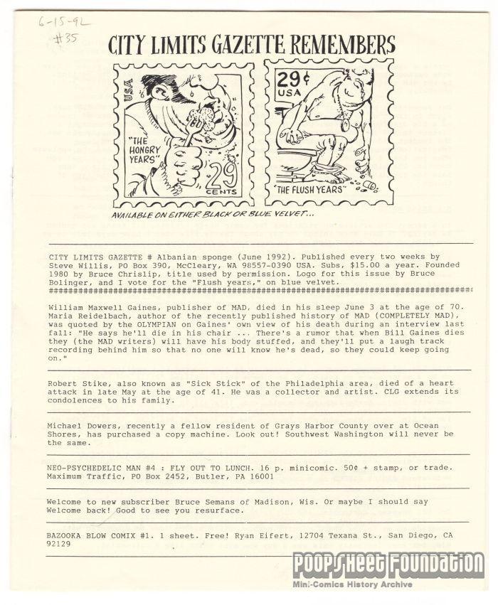 City Limits Gazette (Willis) June 1992, #Albanian sponge