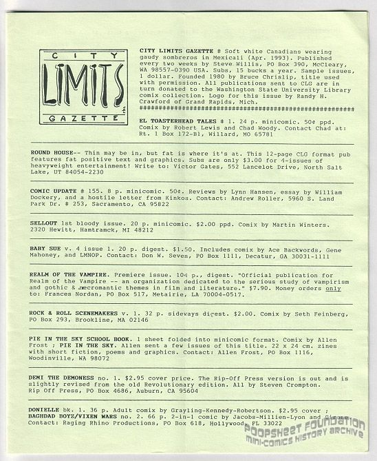 City Limits Gazette (Willis) April 1993, #Soft white Canadians wearing gaudy sombreros in Mexicali