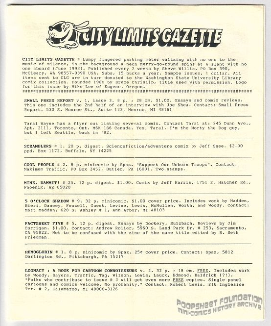 City Limits Gazette (Willis) June 1993, #Lumpy fingered parking meter waltzing with no one to the music of silence, in the background a neon merry-go-round spins at a slant with no one aboard