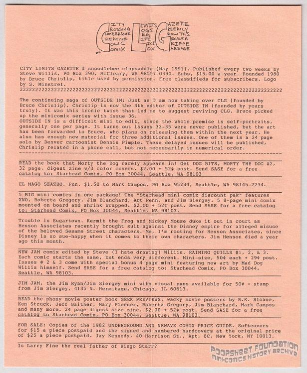 City Limits Gazette (Willis) May 1991, #snoodlebee clapsaddle