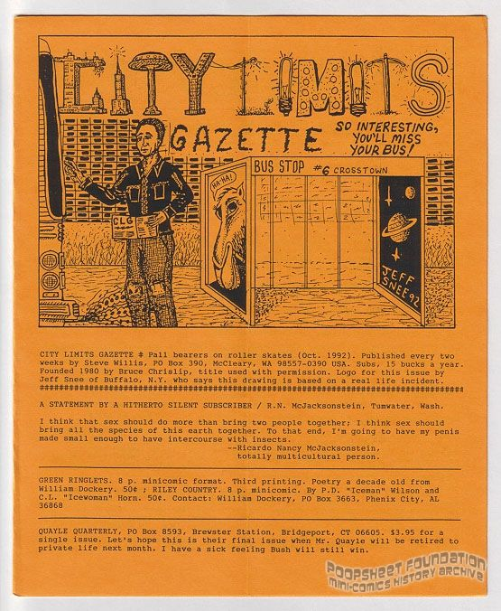 City Limits Gazette (Willis) October 1992, #Pall bearers on roller skates