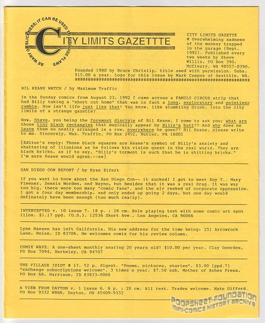 City Limits Gazette (Willis) September 1992, #Overwhelming sadness of the monkey trapped in the garage
